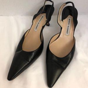 Manolo Blahnik Black Leather Sling Back Shoes 8.5